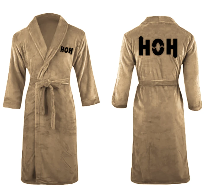 Gold plush bathrobe with HOH logo on the front lapel and across the back