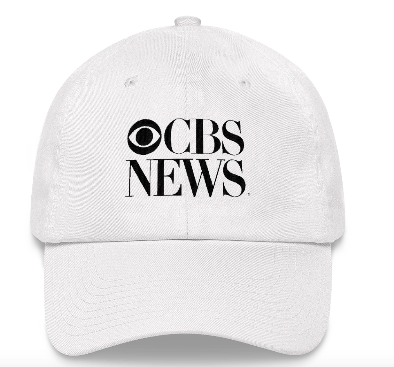 White baseball cap embroidered with CBS News logo in black
