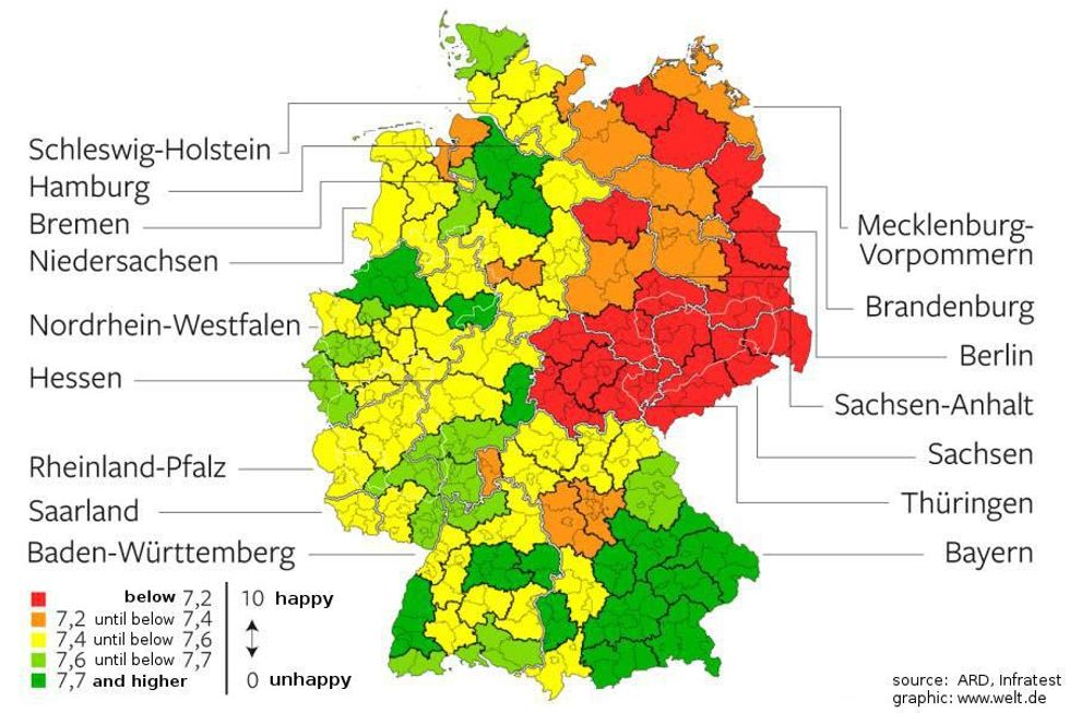 \u200bHappiness map of Germany. Can you spot the GDR?