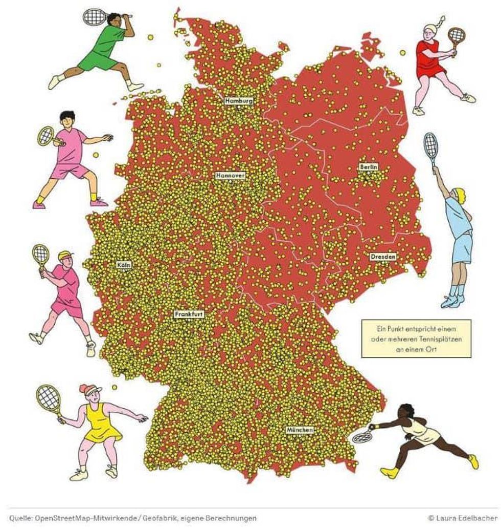 Distribution of tennis courts in Germany.