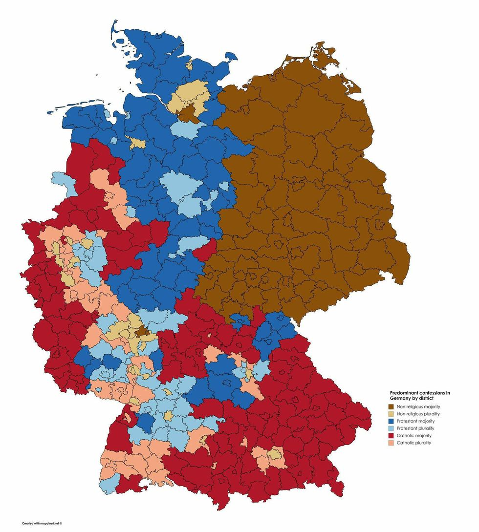 \u200b'Nones' are the majority throughout East Germany.