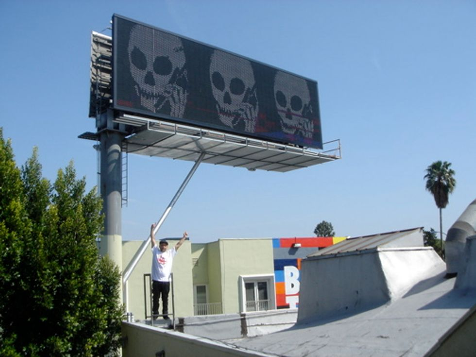 Skullphone Hacks Electronic Billboard