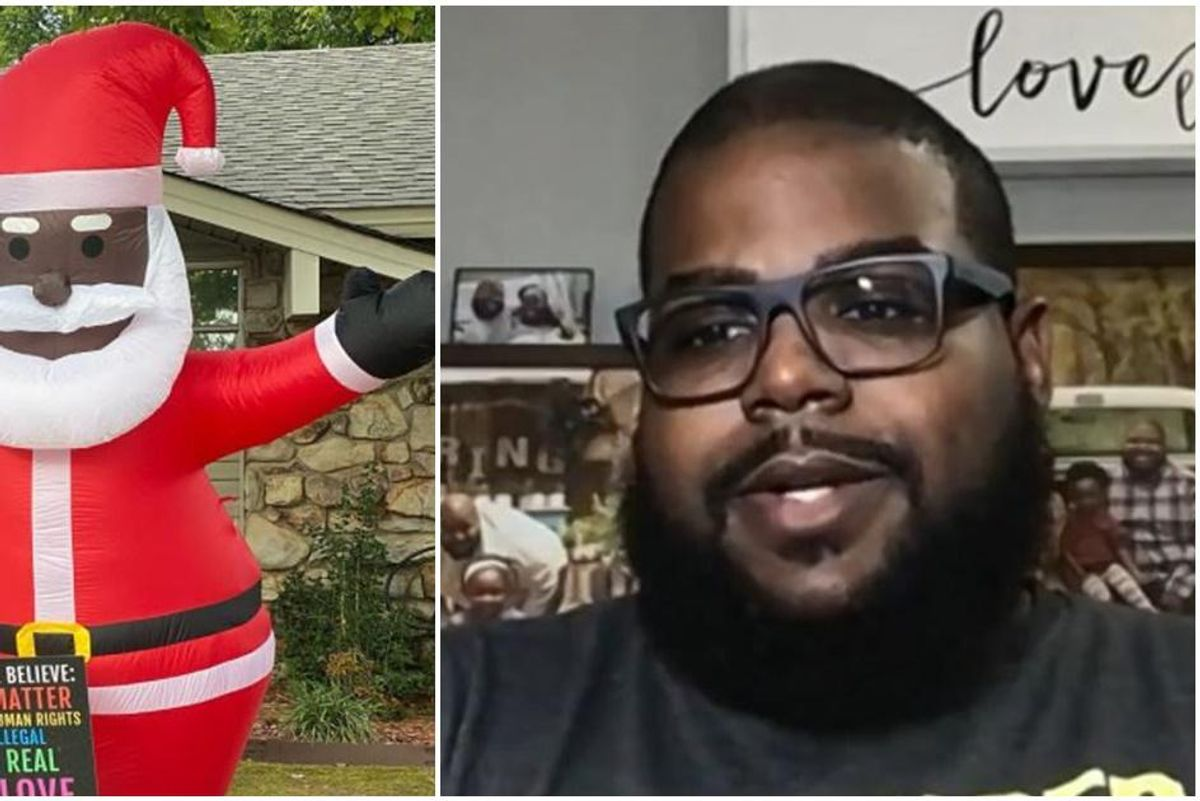 A racist threatened him for his Black Santa decoration. His neighbors responded beautifully.