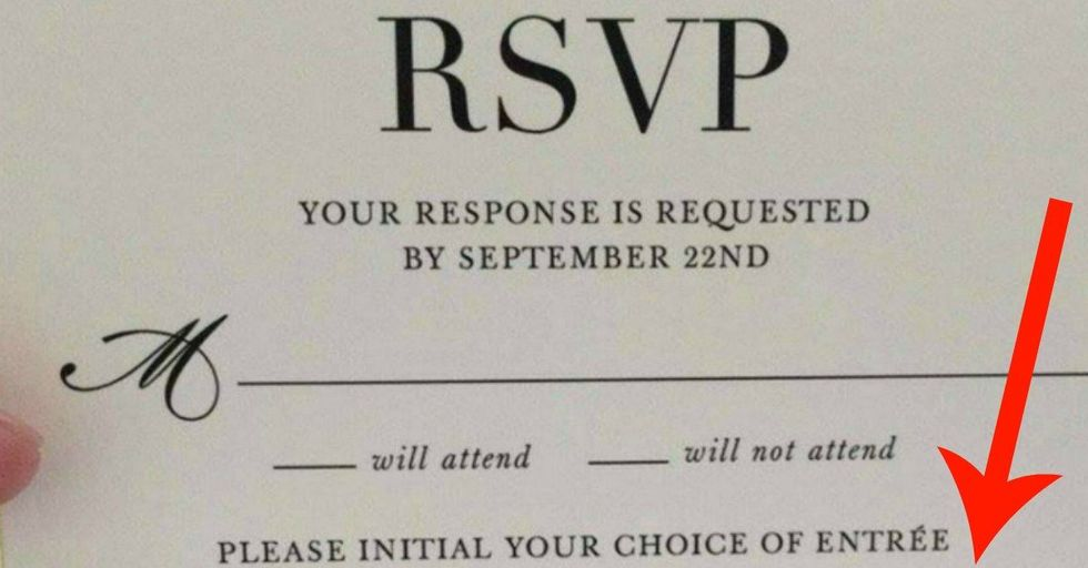 This Wedding's RSVP Card Has a Hilariously Strange Meal Choice