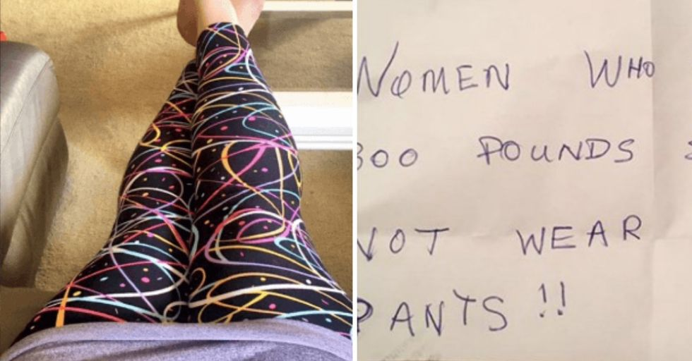 Woman Has EPIC Reply To Stranger's Cruel Note Fat-Shaming Her For Wearing Leggings