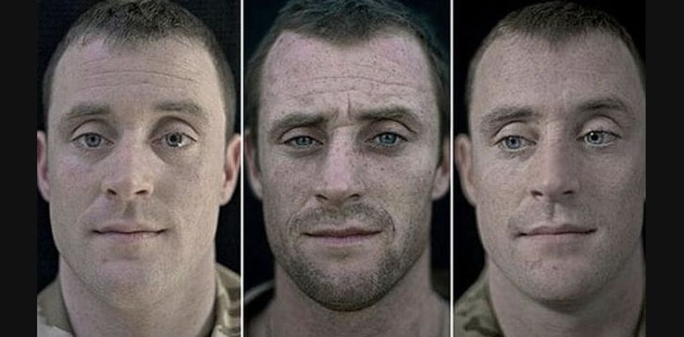portrait of soldier - Private Dylan Hughes, 26-years old