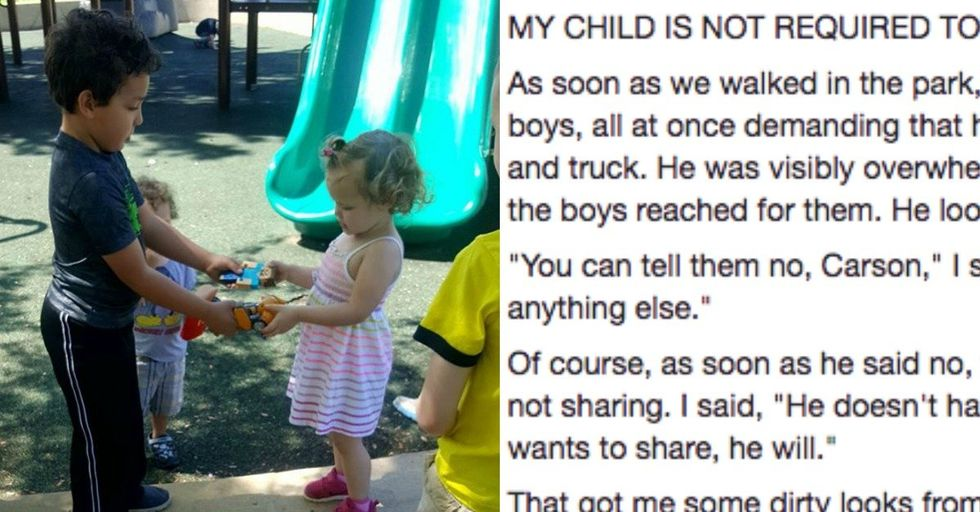 Mom Goes Viral Explaining Why She's Not Teaching Her Son To Share