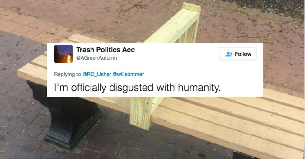 Washington D.C. Just Installed Bars on Its Park Benches to Ward off the Homeless