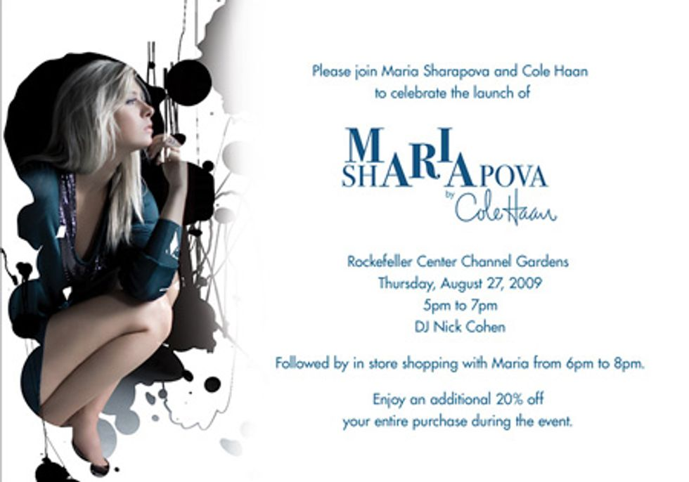Maria Sharapova to Unveil Line for Cole Haan This Thursday