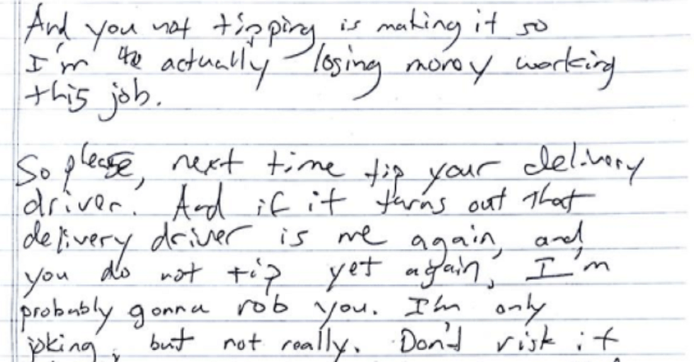 She Didn't Tip Her Delivery Driver, and the Note He Left Will Flat-Out Terrify You