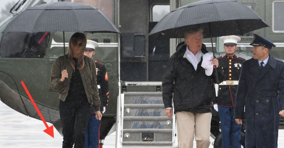 Melania Trump Wore an Odd Choice of Footwear to the Hurricane
