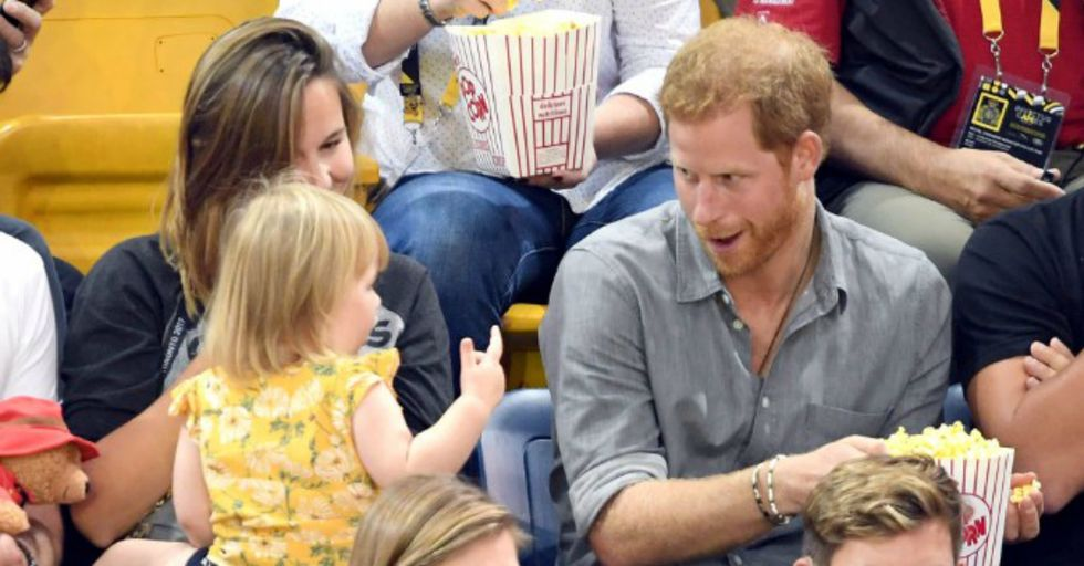 An Adorable Little Girl Stole Prince Harry's Popcorn and Ended Up Stealing Our Hearts
