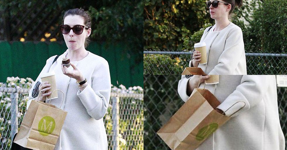 Anne Hathaway Sadly Discovering She Finished Her Cupcakes Is All of Us
