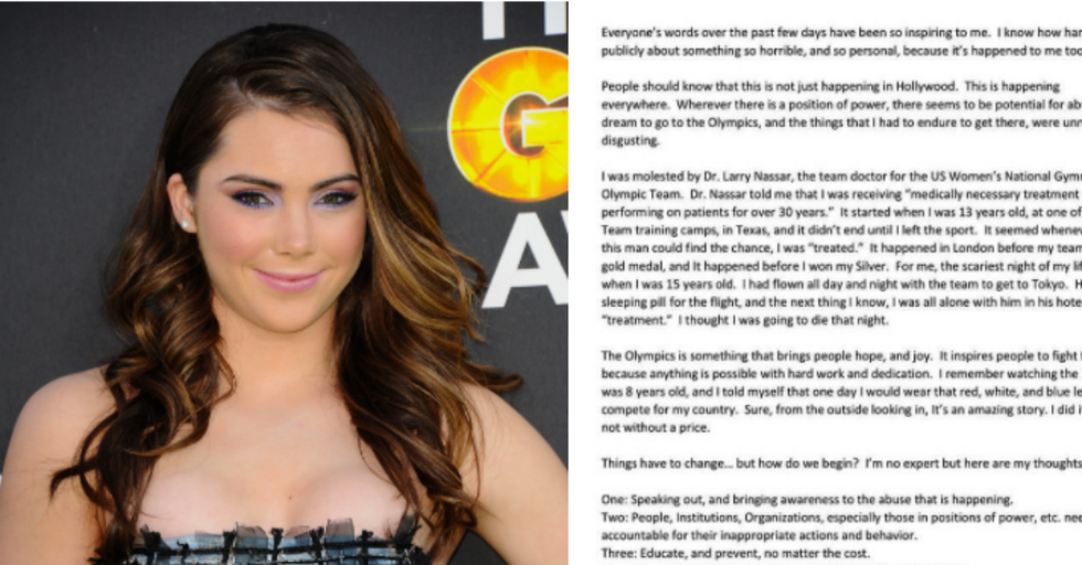Olympic Gymnast McKayla Maroney Just Revealed That Her Team Doctor Molested Her for Years Starting at Age 13