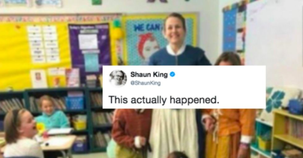 This School Is Being Skewered After Sharing a Controversial Photo of a Young Black Girl Kneeling and Leashed in Her Classroom