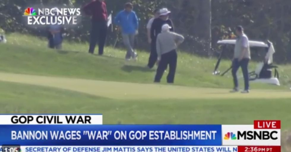 This NBC News Footage of Trump Golfing Has Something Hilariously Sad Hidden Inside