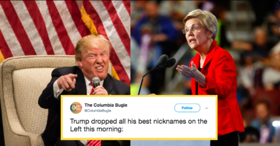 Donald Trump Started His Day by Tweeting a Racial Slur at Elizabeth Warren