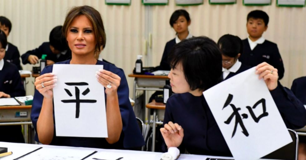 Here's What Happened When Melania Trump Tried Her Hand at Calligraphy in Japan