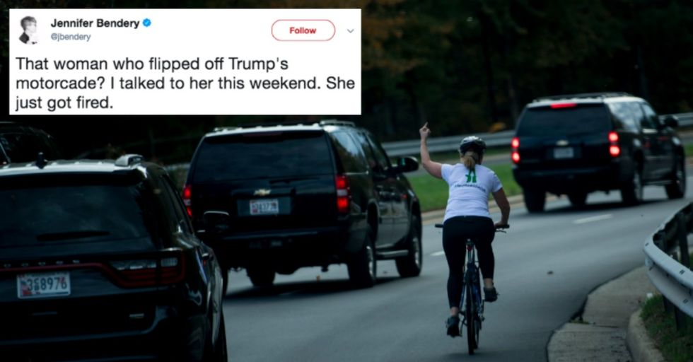 Woman Who Flipped off Trump Motorcade Is Fired From Job, and It's Not for the Reason You Think