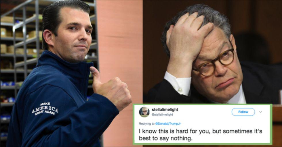 Donald Trump Jr. Skewered for His Tone Deaf Response to Al Franken's Resignation