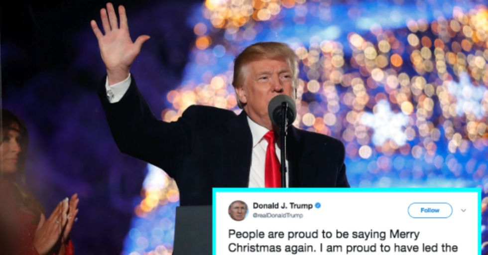 Trump Tried to Take Credit for Bringing back 'Merry Christmas,' but the Internet Wasn't Falling for It
