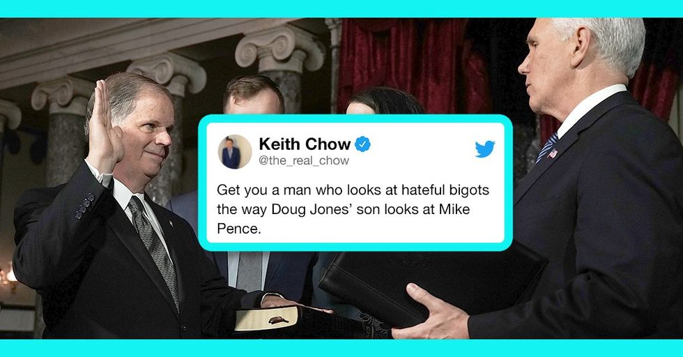 This Photo of Doug Jones' Gay Son Staring Down Mike Pence Is the Greatest Moment of 2018