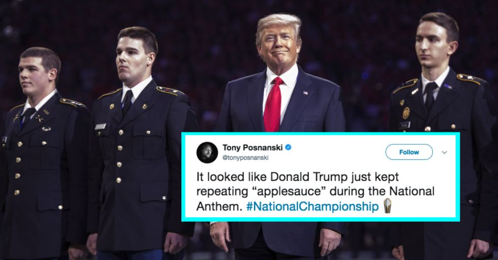 Donald Trump — Sworn Enemy of #TakeAKnee — Doesn't Know the Words to the National Anthem