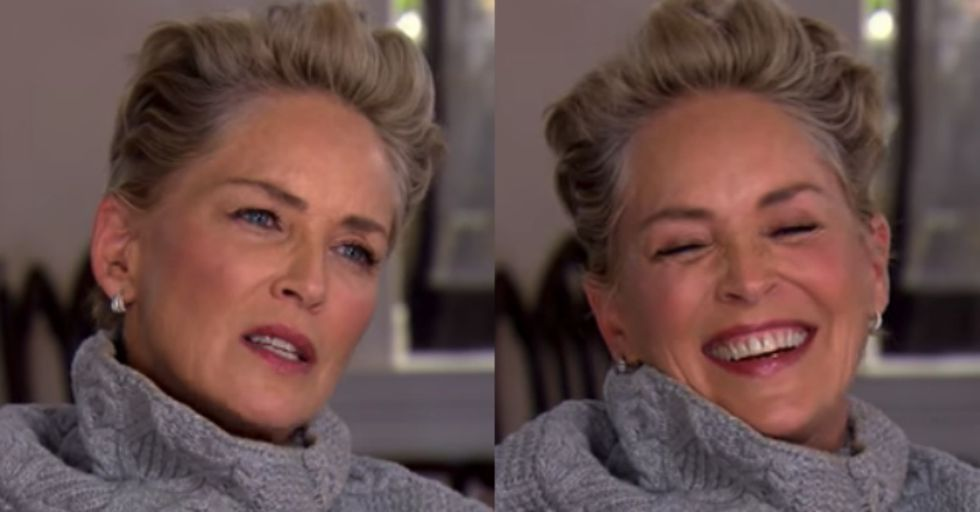 Sharon Stone Laughed for a Full 10 Seconds at Reporter's Absurd Sexual Harassment Question