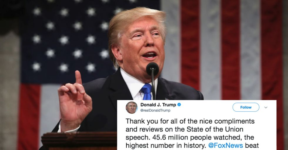Trump Lied and Said His State of the Union Ratings Set a Record. They Did Not.