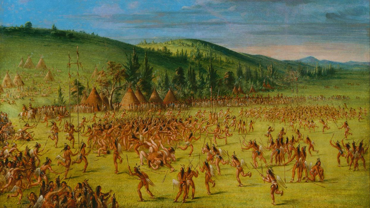 """An Indian Ball-Play"" by George Catlin, circa 1846–1850, Choctaw Indians."