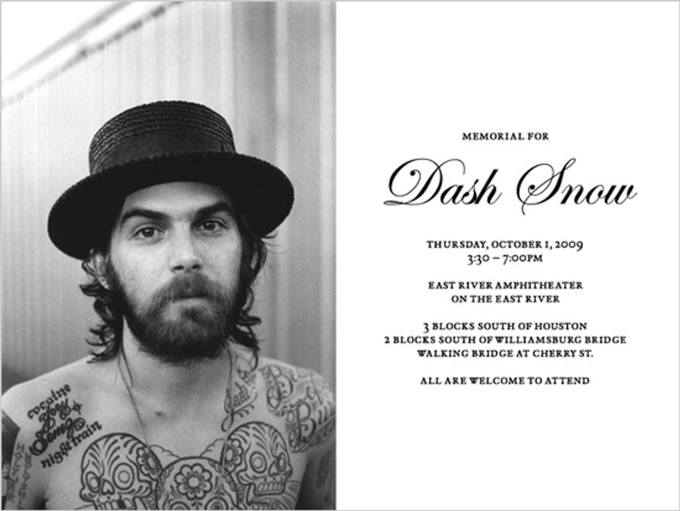 Dash Snow Memorial Today at East River Amphitheater