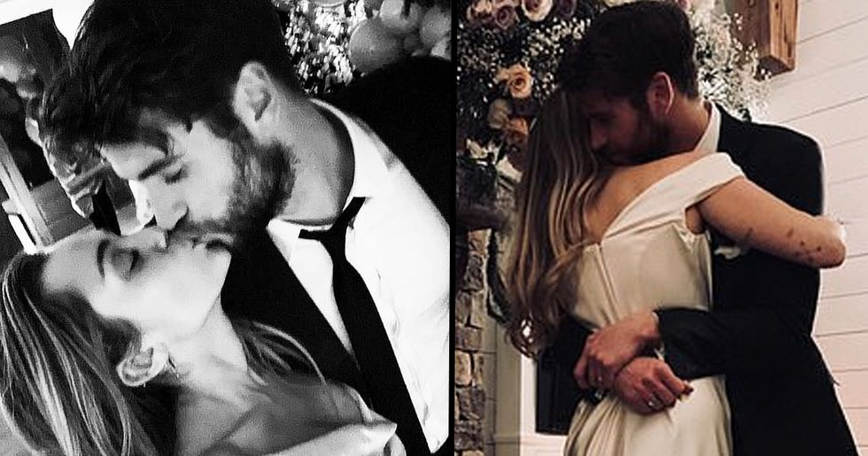 People Noticed One Thing About Miley Cyrus' And Liam Hemsworth's Wedding Photos