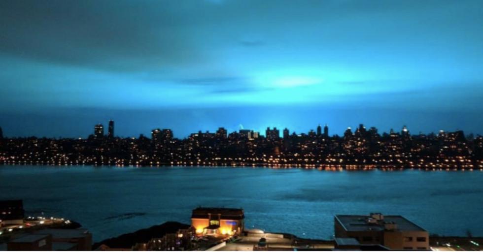 Terrifying Blue Blast Lights Up New York Skyline