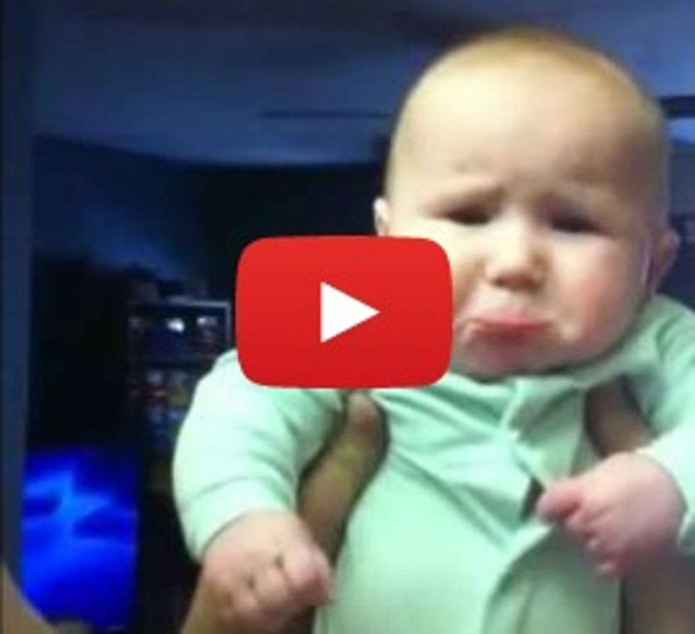 4-month-old is adorably disappointed with a kiss from his dad