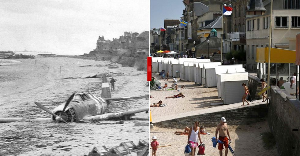 D-Day photos from 1944 and photos of vacationers at the exact same locations today [28 pics]