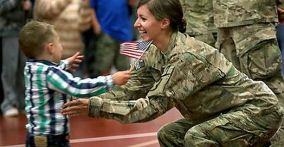 3-year-old makes his military mom disobey orders. They hadn't hugged in 9 months...