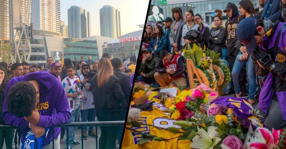 Hundreds of Kobe Fans Ignored Police Warnings to Attend Staples Centre Vigil