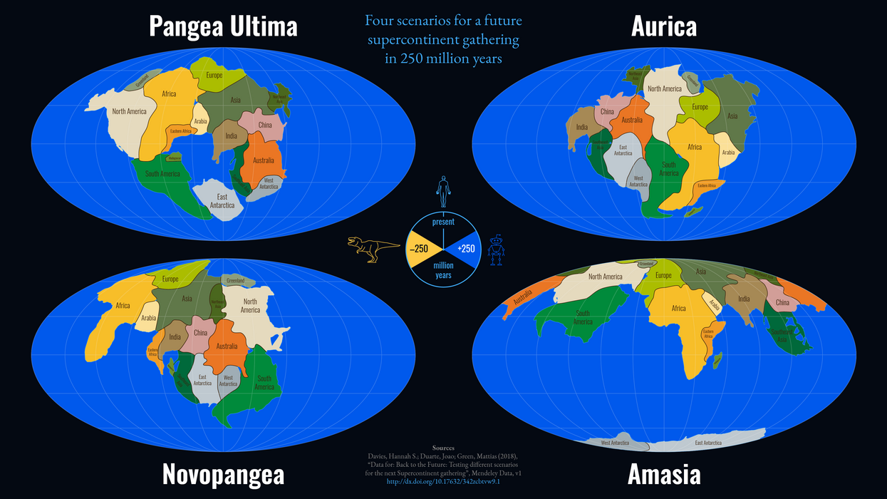Four plausible scenarios for the supercontinent of the future.