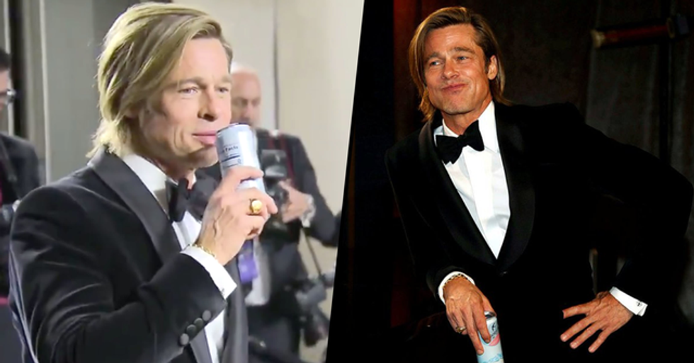Brad Pitt Waiting for His Oscar to Be Engraved Is the Coolest Thing We've Ever Seen
