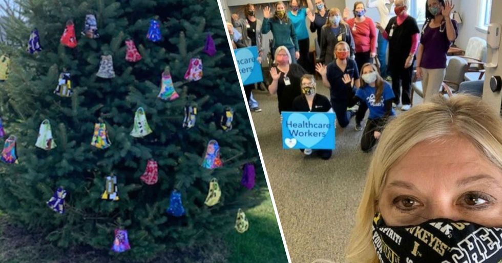 Woman Creates 'Giving Tree' With Hundreds of Homemade Masks for Local Residents
