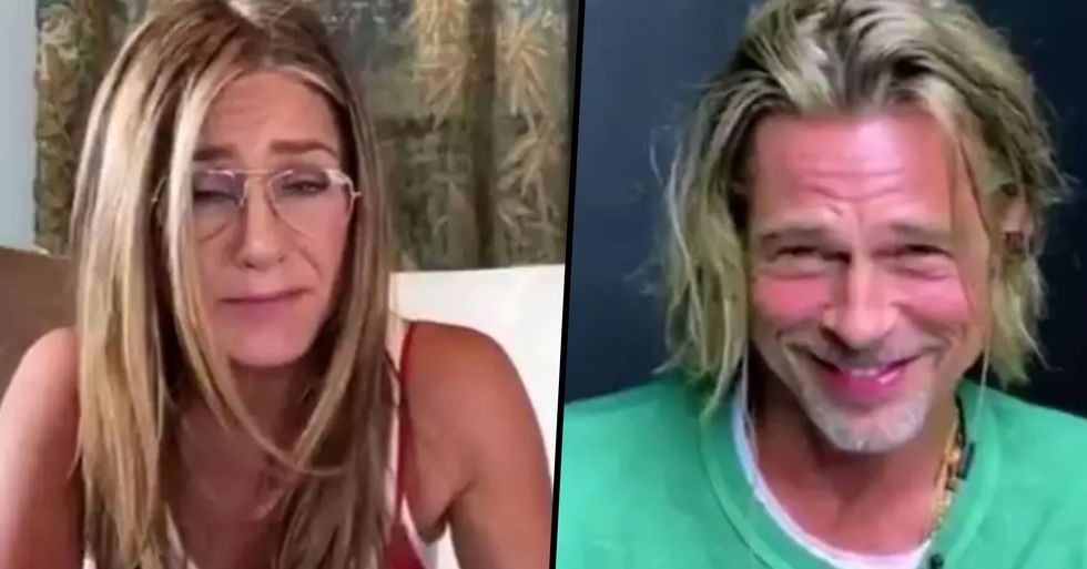 Brad Pitt Looks Extremely Awkward as Jennifer Aniston Says 'I Think You're So Sexy' as the Pair Reunite
