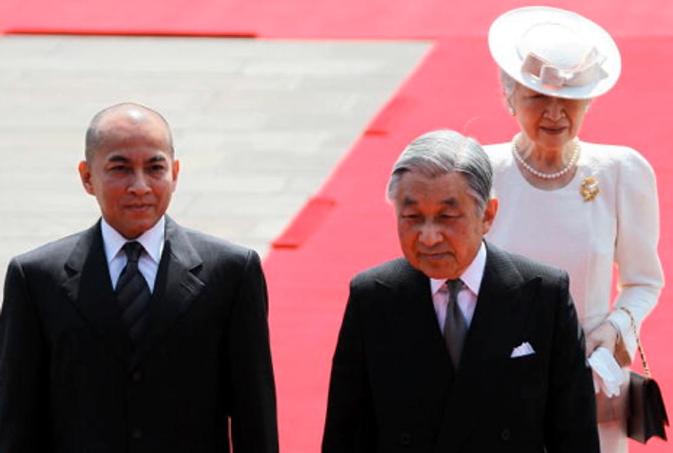 King Sihamoni of Cambodia Goes to Japan