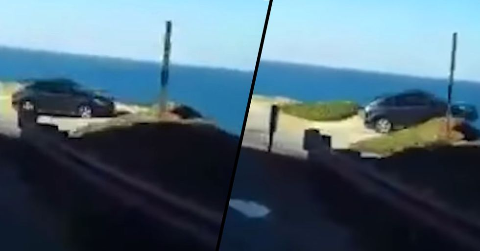 Dashcam Captures the Moment SUV Flies off California Cliff