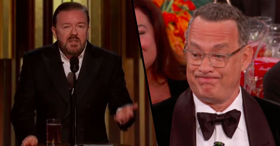 Ricky Gervais Brutally Roasted Celebrities For Being Fake 'Woke' And Tom Hanks' Face Was Priceless