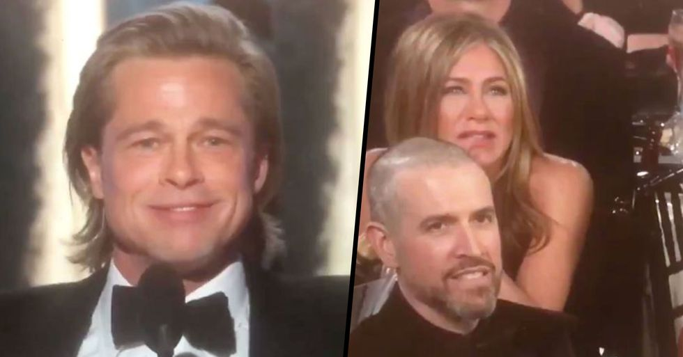 Jennifer Aniston's Reactions Are the Best Part of Brad Pitt's Golden Globes Speech