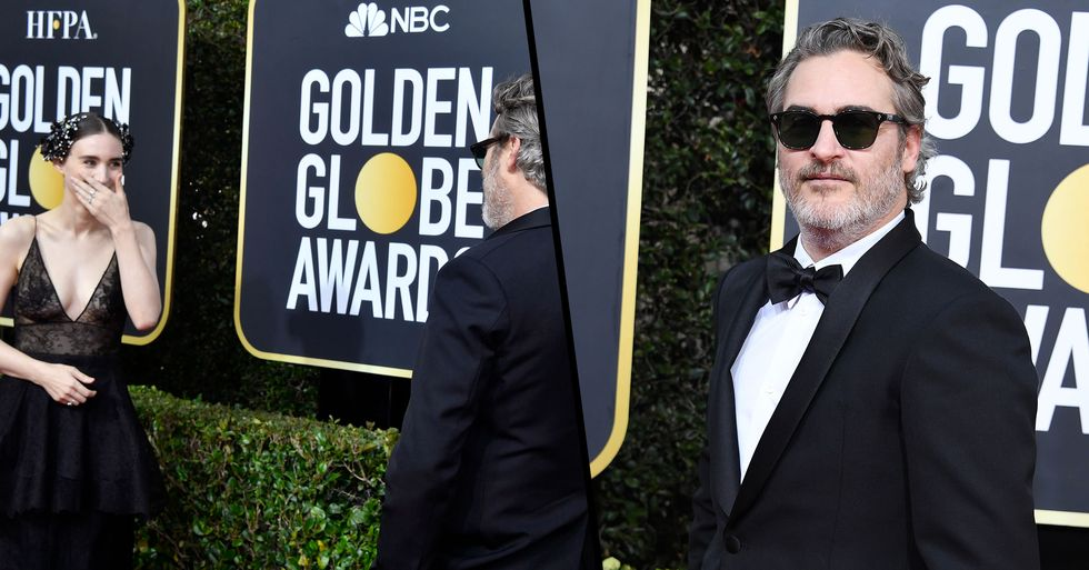 Joaquin Phoenix Didn't Walk the Red Carpet With His Fiancée so He Could Admire Her From a Distance