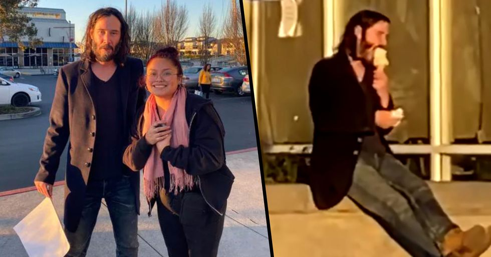 Keanu Reeves Takes Photo With Fan After Being Spotted Eating Ice Cream Alone