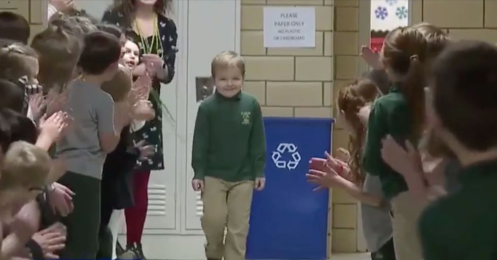Brave 6-Year-Old Boy Gets Standing Ovation From Classmates After Beating Cancer