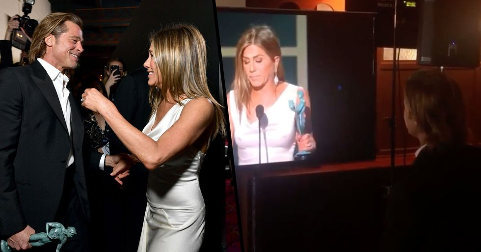 Brad Pitt 'Stopped Everything' to Watch Jennifer Aniston's SAG Awards Speech Backstage