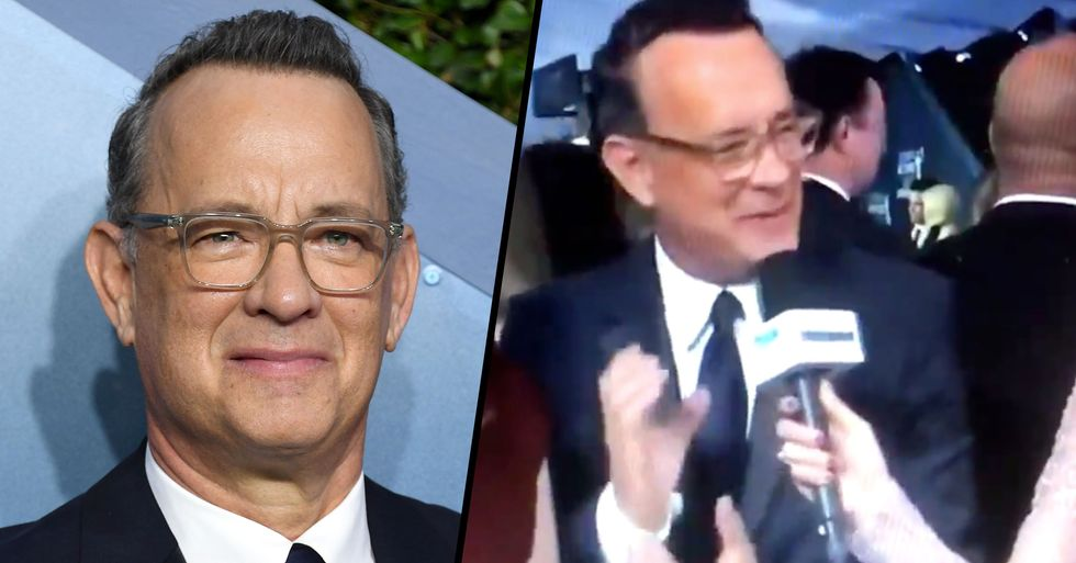Tom Hanks Accidentally Made a Pretty Unfortunate Hand Gesture at the SAG Awards